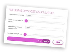 Barton Grange Hotel wedding day costs calculator