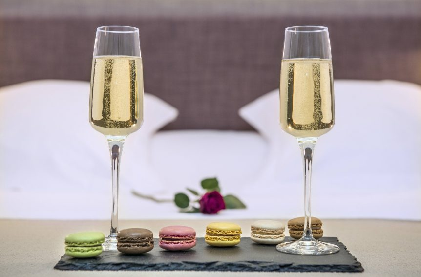 Wedding Champagn and macarons at Barton Grange Hotel